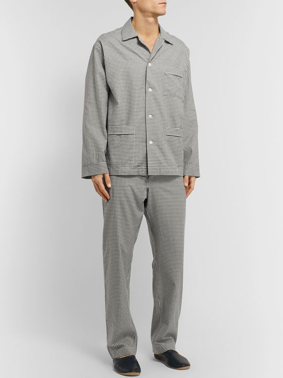 Anderson & Sheppard Gingham Brushed-Cotton Pyjama Set