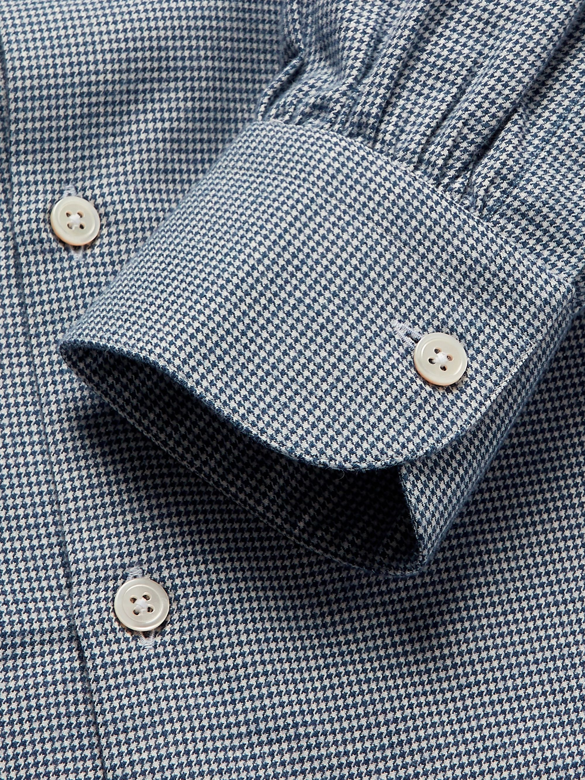 Anderson & Sheppard Slim-Fit Grandad-Collar Puppytooth Brushed-Cotton Shirt