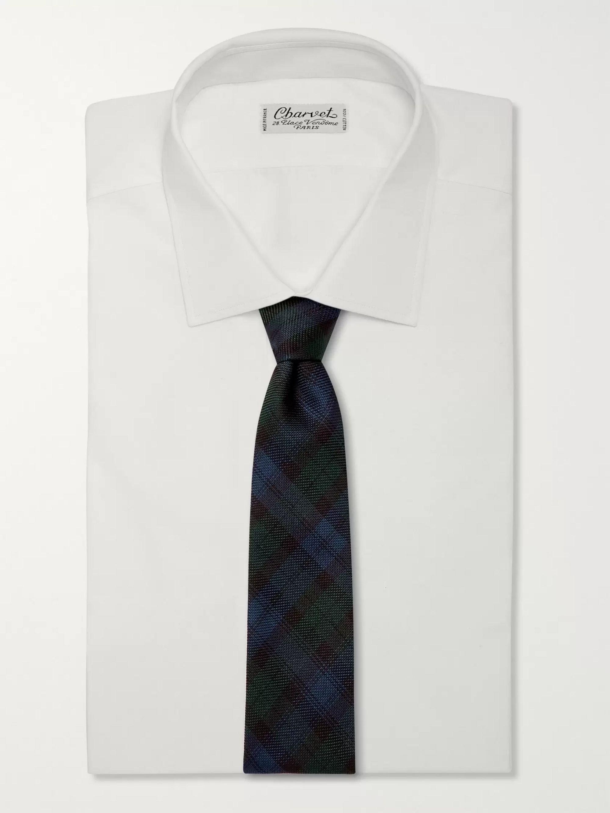 Drake's 8cm Checked Silk-Grenadine Tie