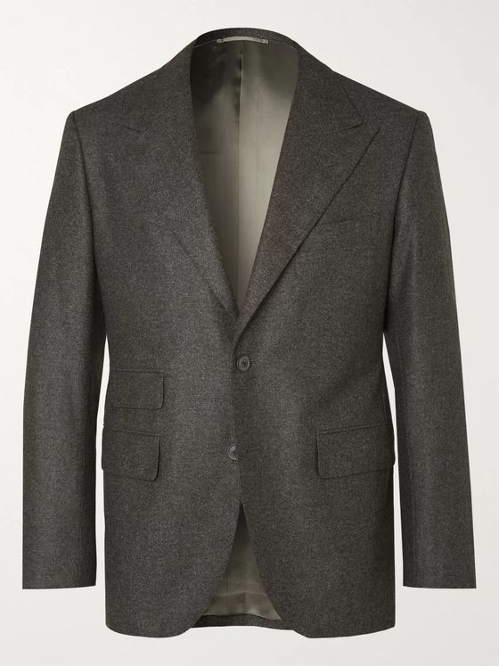 Camoshita + Vitale Barberis Canonico Dark-Grey Wool Suit Jacket