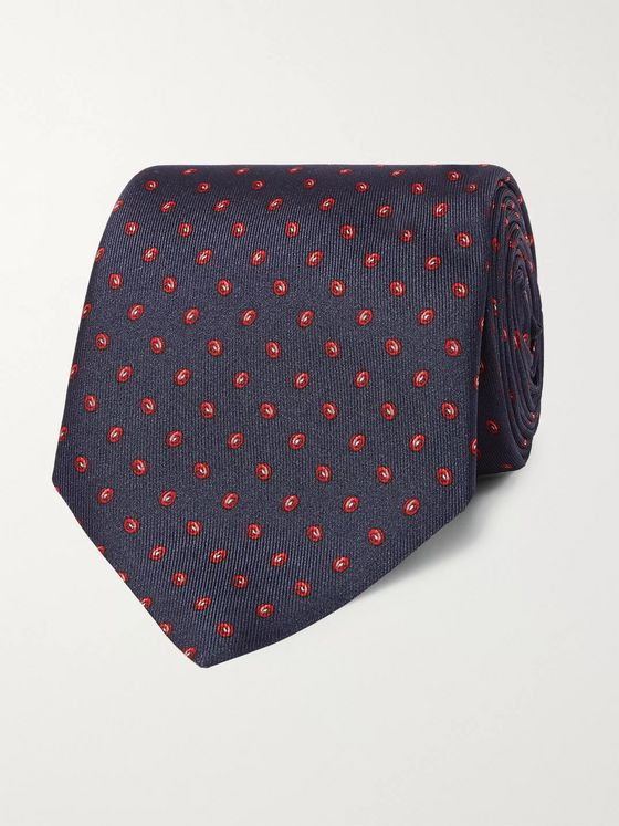 Dunhill 8.5cm Printed Mulberry Silk Tie