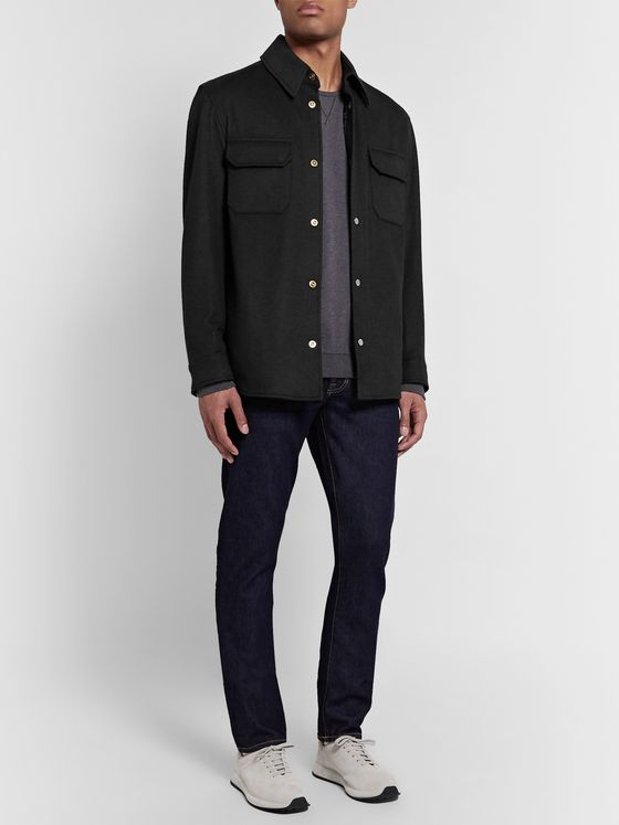 Dunhill Padded Wool, Mulberry Silk and Cashmere-Blend Overshirt