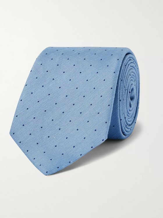 Dunhill 8cm Polka-Dot Mulberry Silk and Linen-Blend Tie
