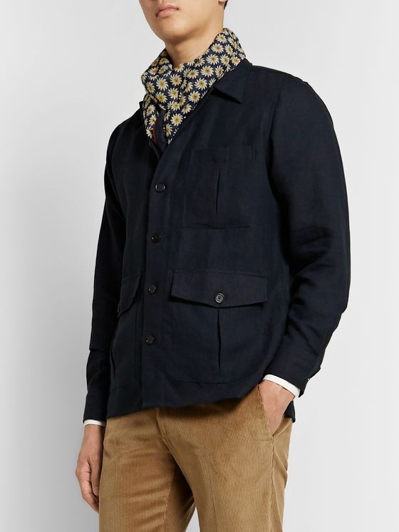 Drake's Printed Cotton and Silk-Blend Scarf