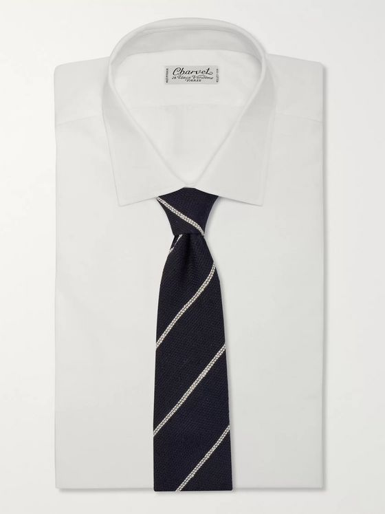 Drake's 8cm Striped Slub Silk Tie