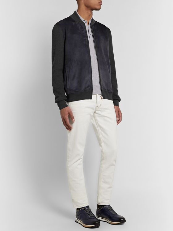 Dunhill Suede-Panelled Ribbed Merino Wool Bomber Jacket