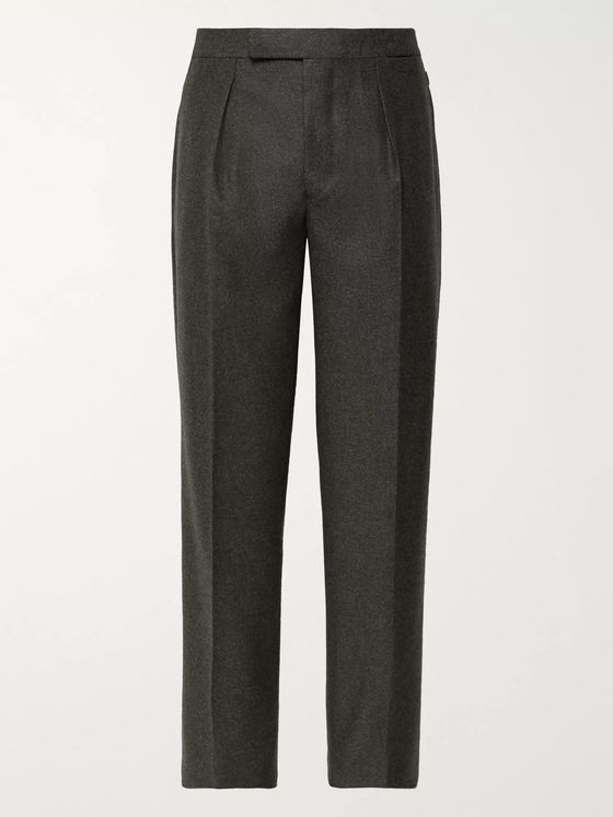 Camoshita + Vitale Barberis Canonico Dark-Grey Pleated Wool Suit Trousers