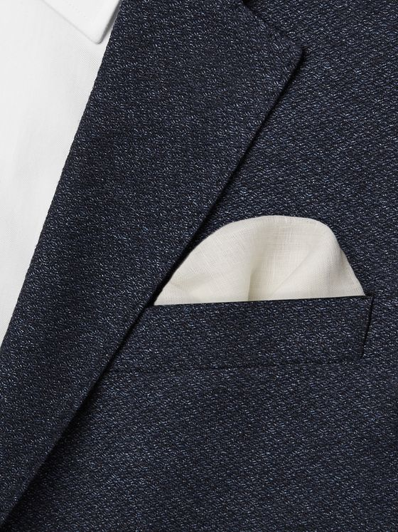 Drake's Contrast-Tipped Linen Pocket Square