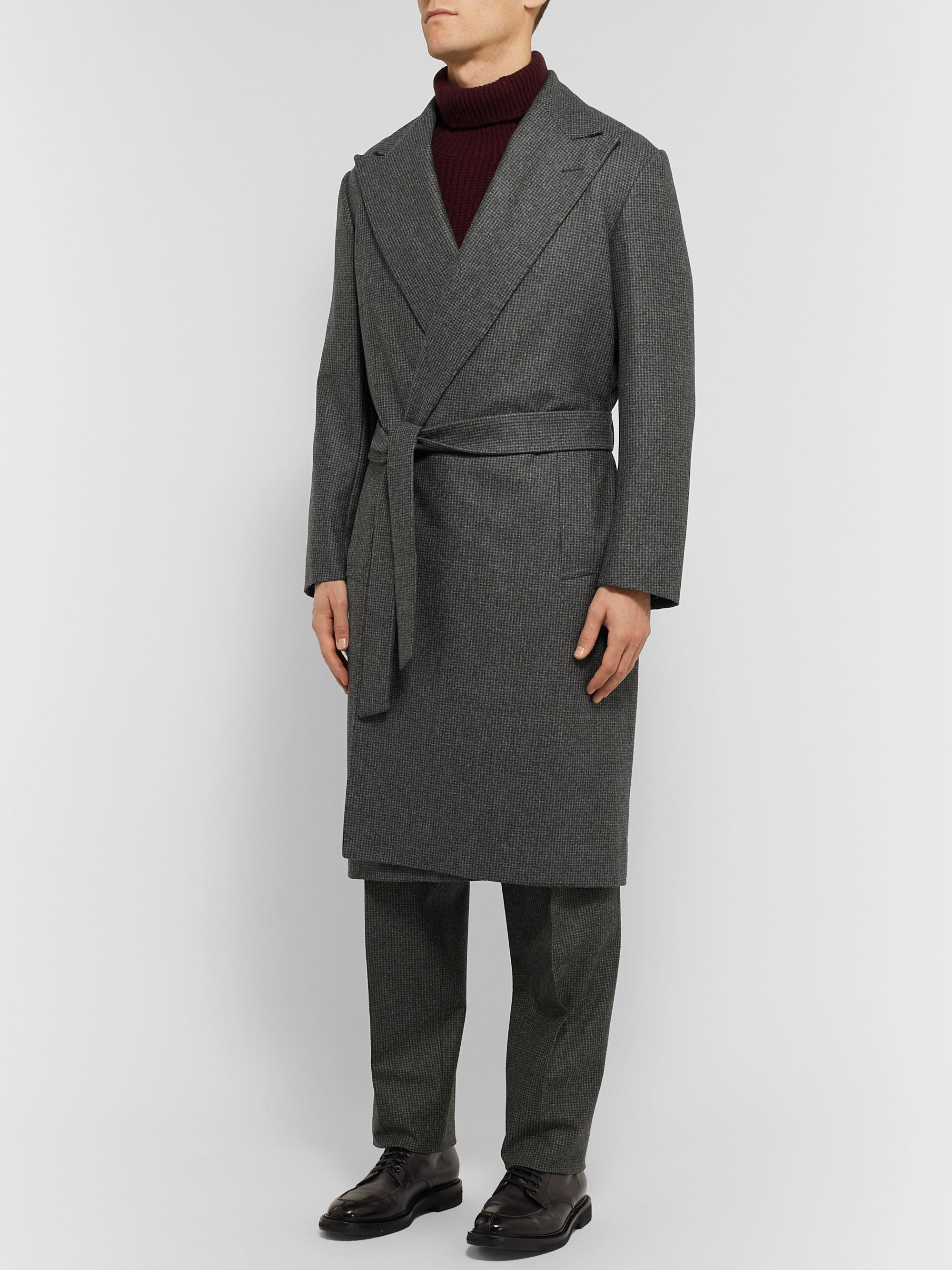 Camoshita + Vitale Barberis Canonico Belted Puppytooth Wool Coat