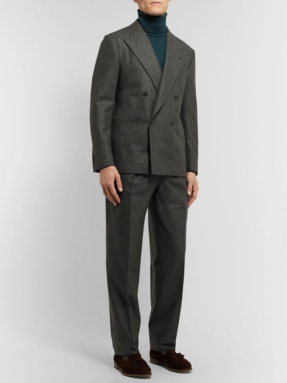Camoshita + Vitale Barberis Canonico Dark-Grey Puppytooth Wool Suit Jacket