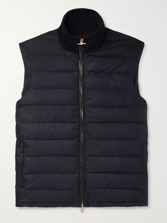 Dunhill Leather-Trimmed Quilted Shell Down Gilet