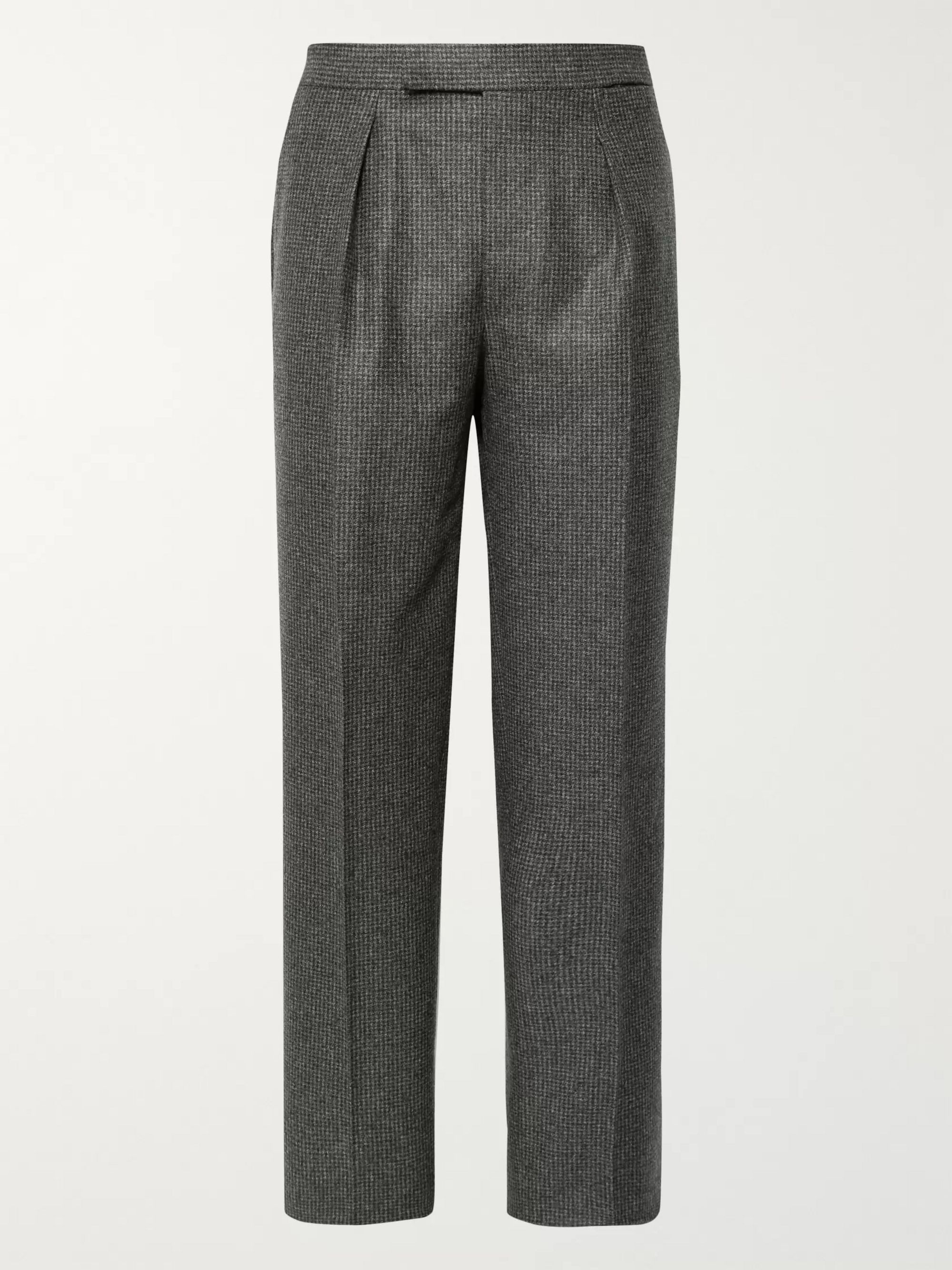 Camoshita + Vitale Barberis Canonico Dark-Grey Pleated Puppytooth Wool Suit Trousers