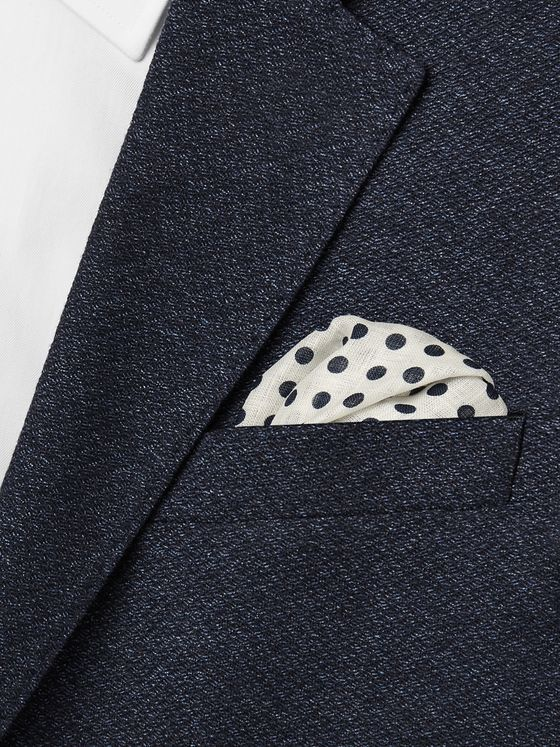Drake's Polka-Dot Linen Pocket Square