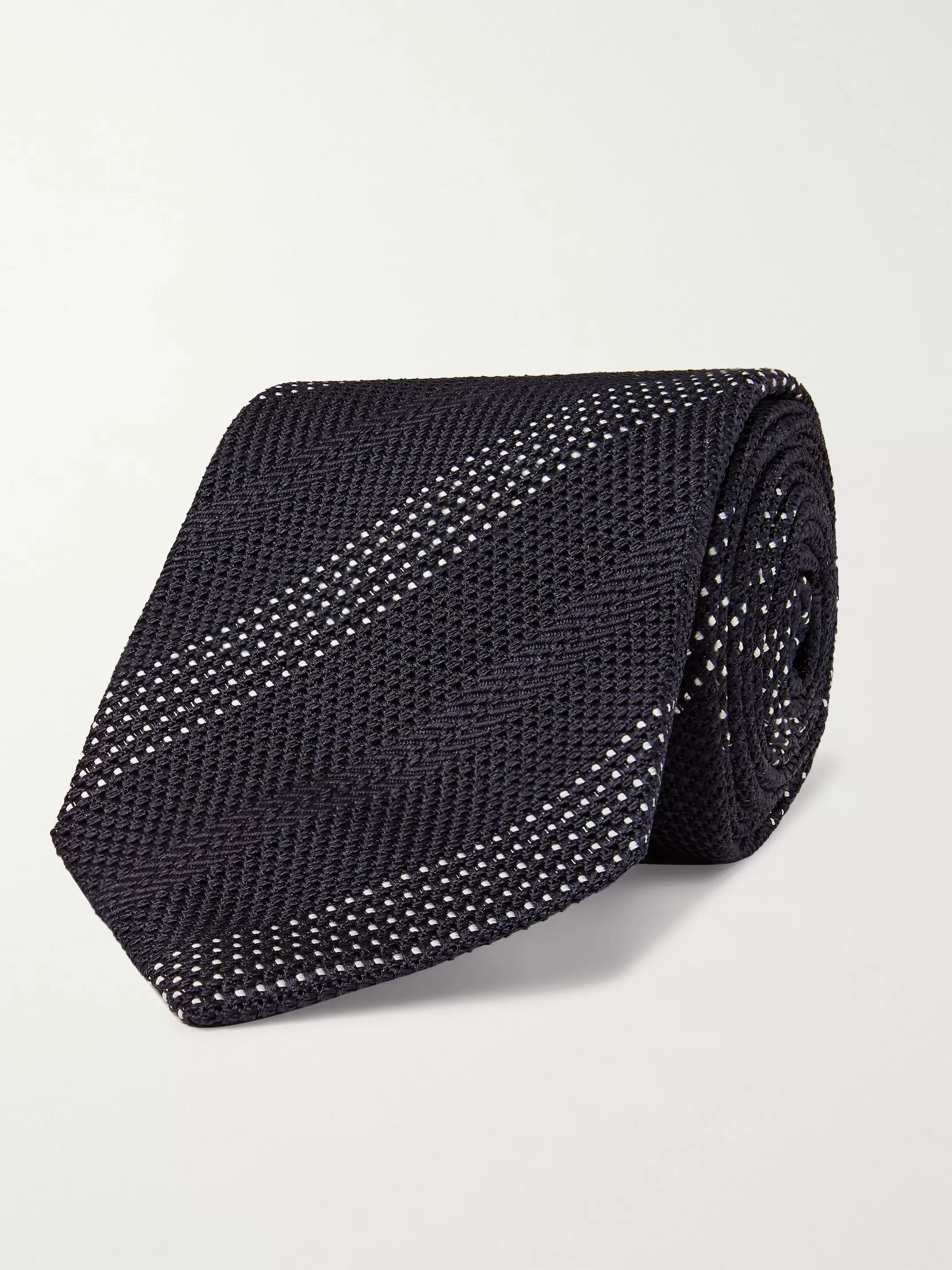 Drake's 8cm Striped Knitted Silk Tie