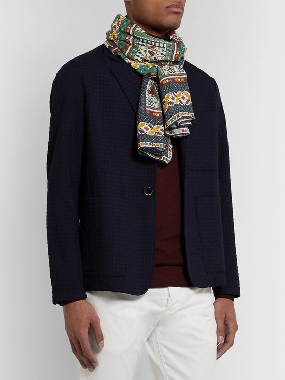 Drake's Printed Cotton, Modal and Cashmere-Blend Scarf