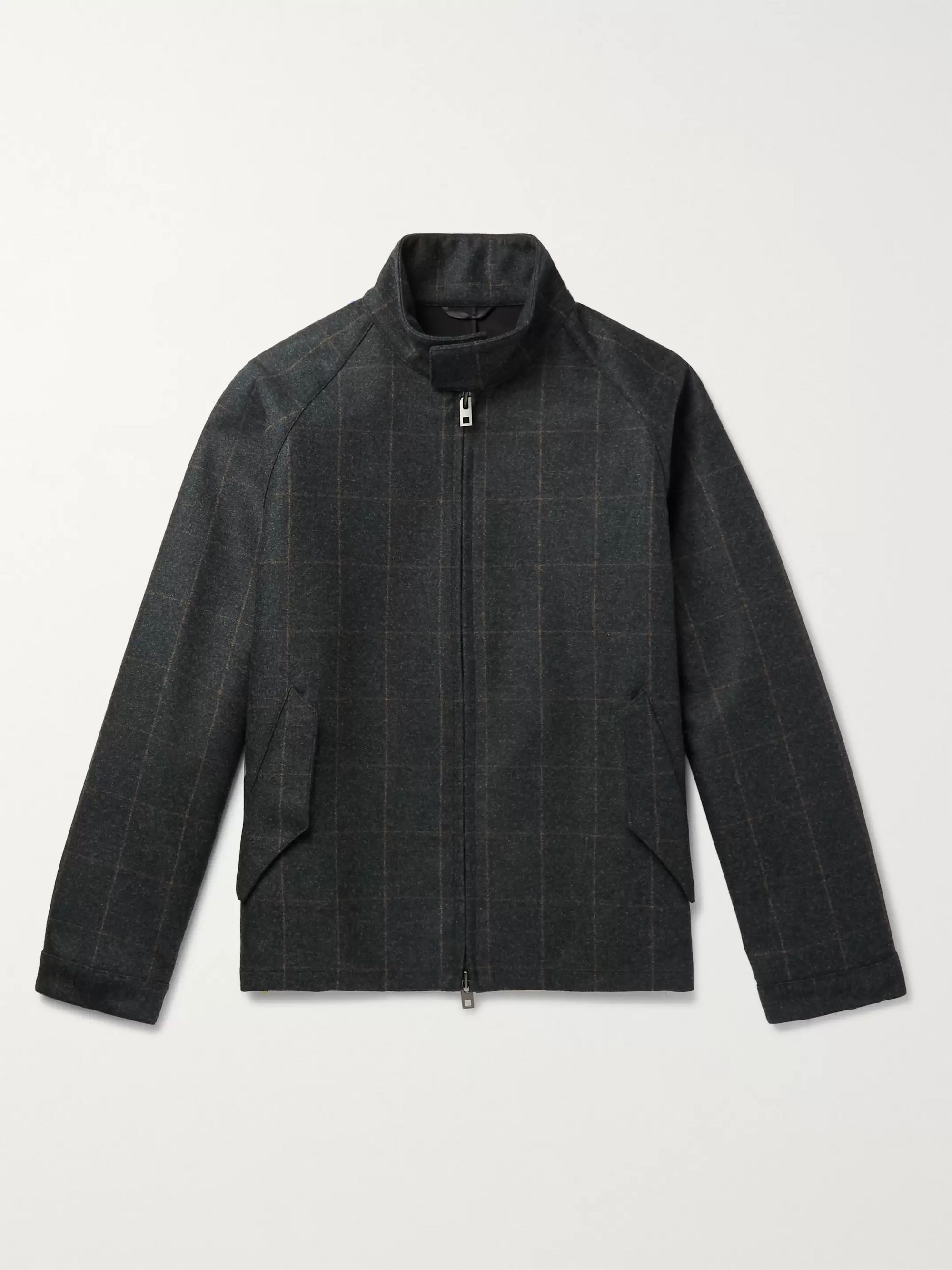 Camoshita + Vitale Barberis Canonico Checked Wool Bomber Jacket