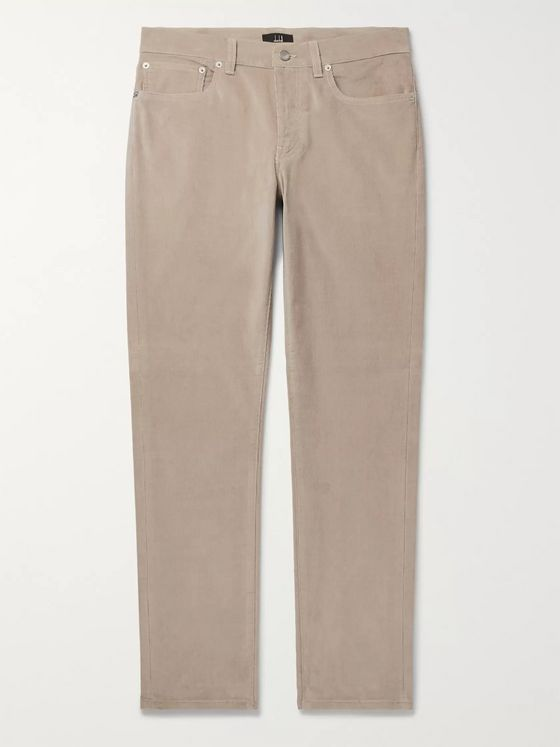 Dunhill Black Slim-Fit Stretch-Cotton Corduroy Trousers