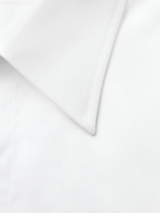 DUNHILL White Double-Cuff Cotton Shirt