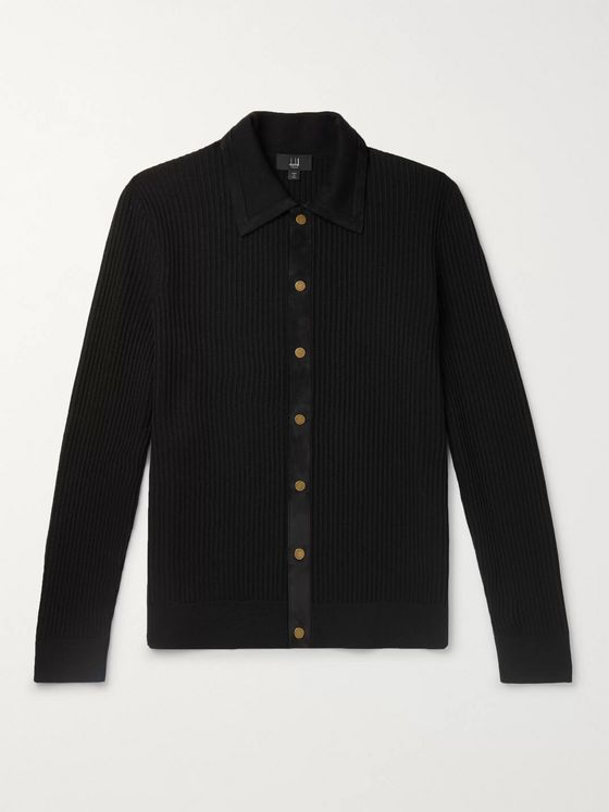 Dunhill Suede-Trimmed Ribbed Merino Wool Cardigan