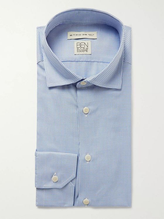 Etro Light-Blue Slim-Fit Puppytooth Woven Shirt