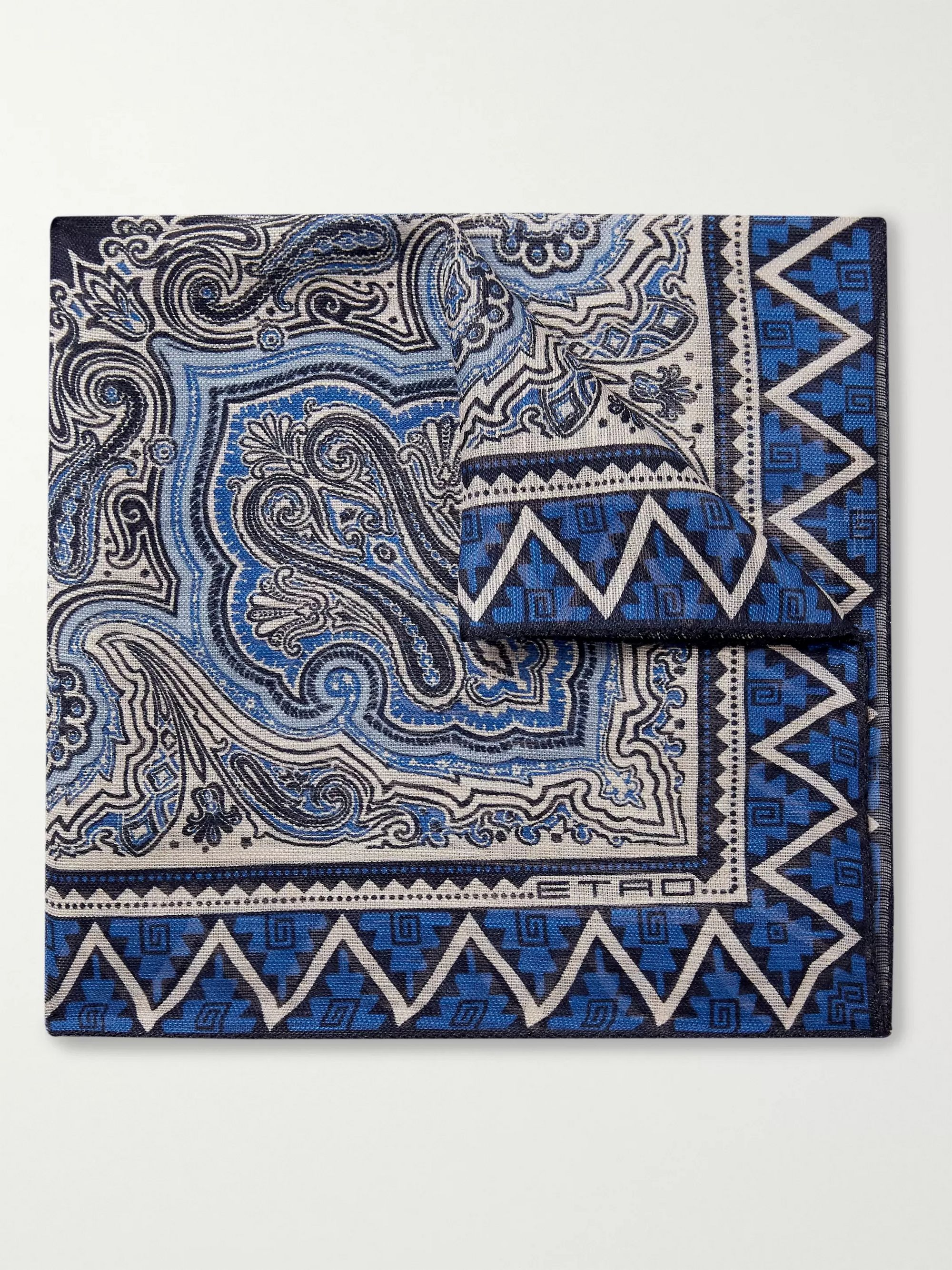 Etro Printed Linen and Silk-Blend Pocket Square