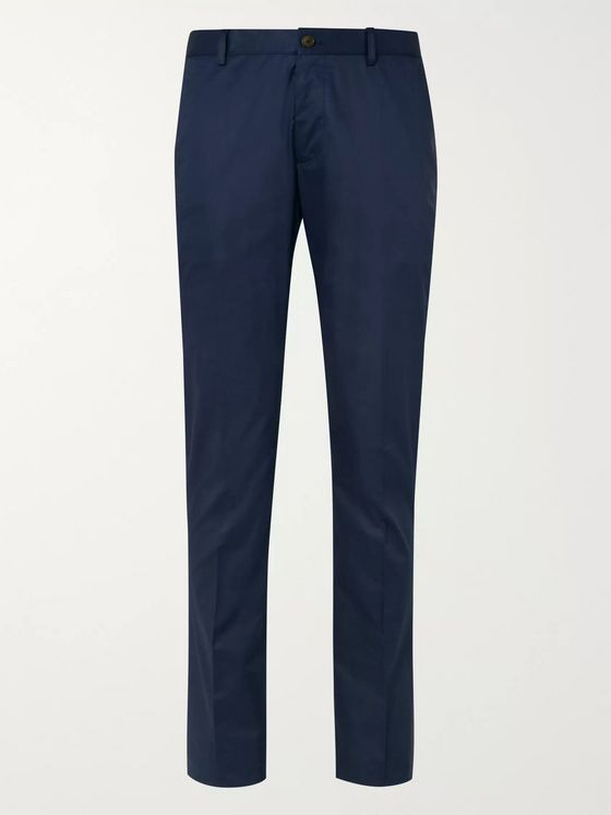 Etro Navy Tapered Cotton-Blend Trousers