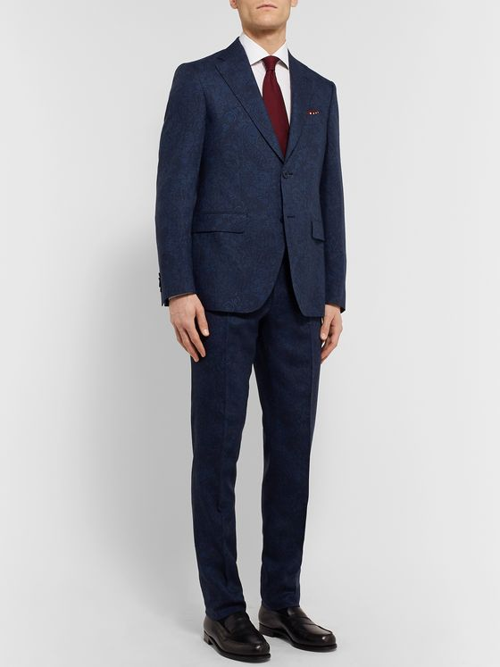 Etro Navy Slim-Fit Paisley-Print Wool Suit Jacket