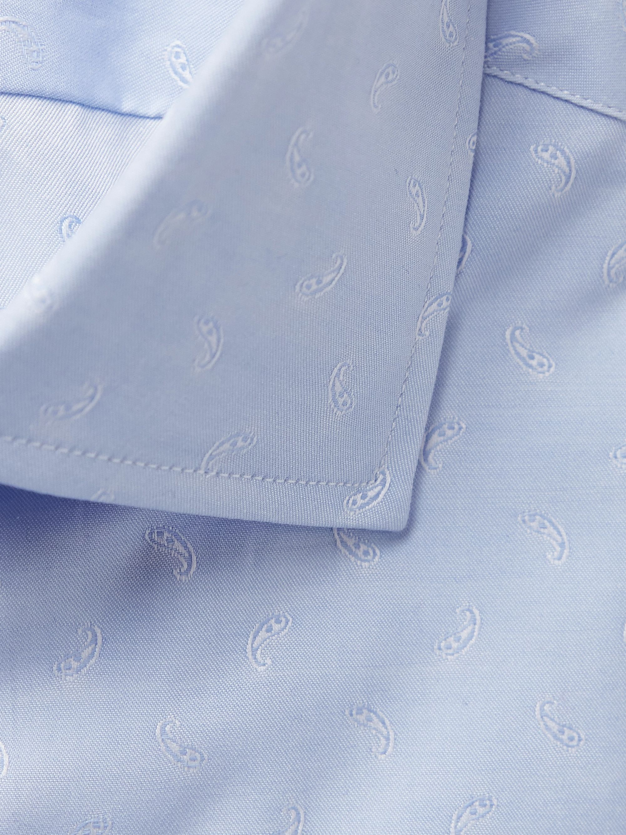 Etro Light-Blue Slim-Fit Paisley-Print Cotton-Poplin Shirt