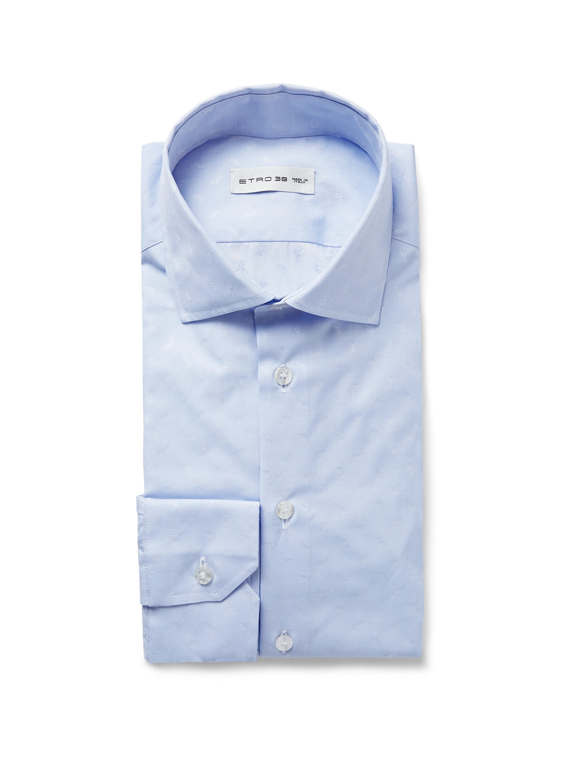 etro - light-blue slim-fit paisley-print cotton-poplin shirt - men - blue - eu 43
