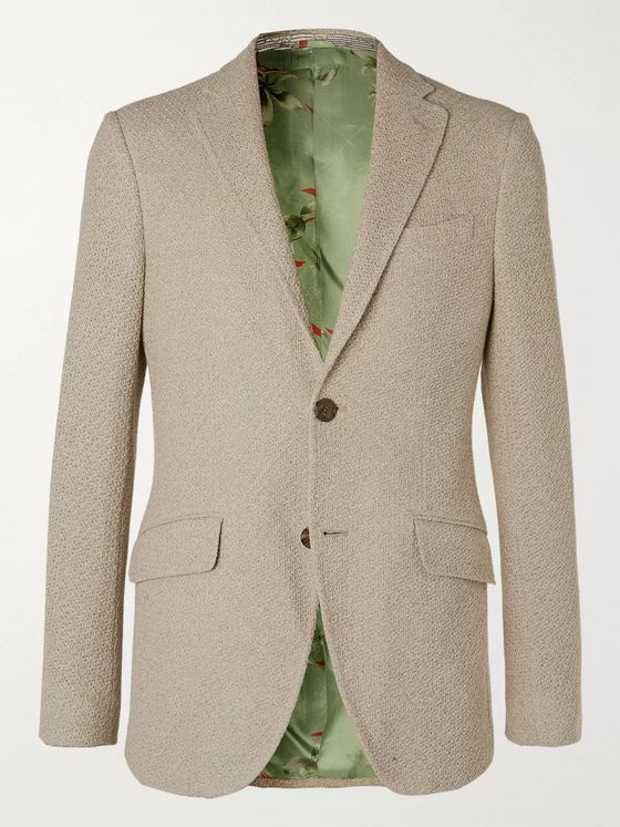 Etro Cream Slim-Fit Woven Cotton Blazer