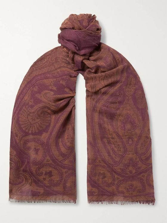Etro Paisley-Jacquard Linen, Wool and Silk-Blend Scarf