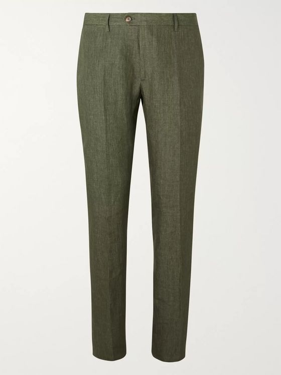 Etro Burgundy Slim-Fit Linen Suit Trousers