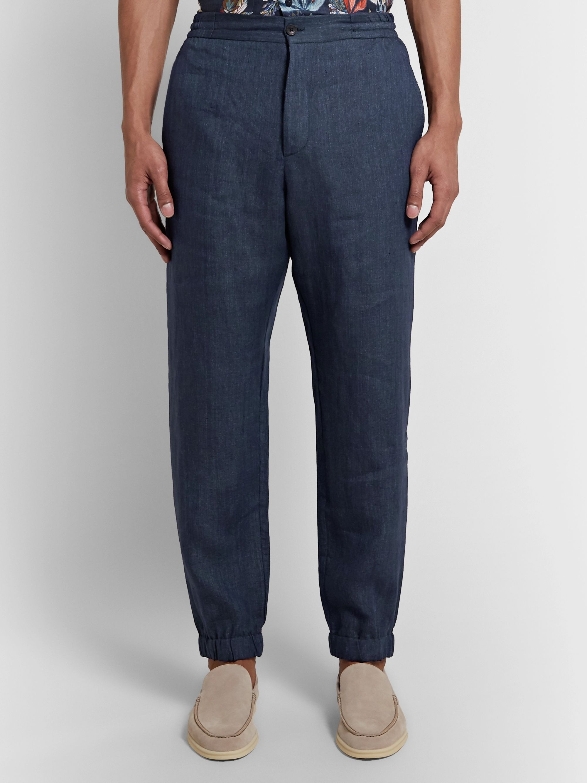 Etro Navy Linen Drawstring Trousers