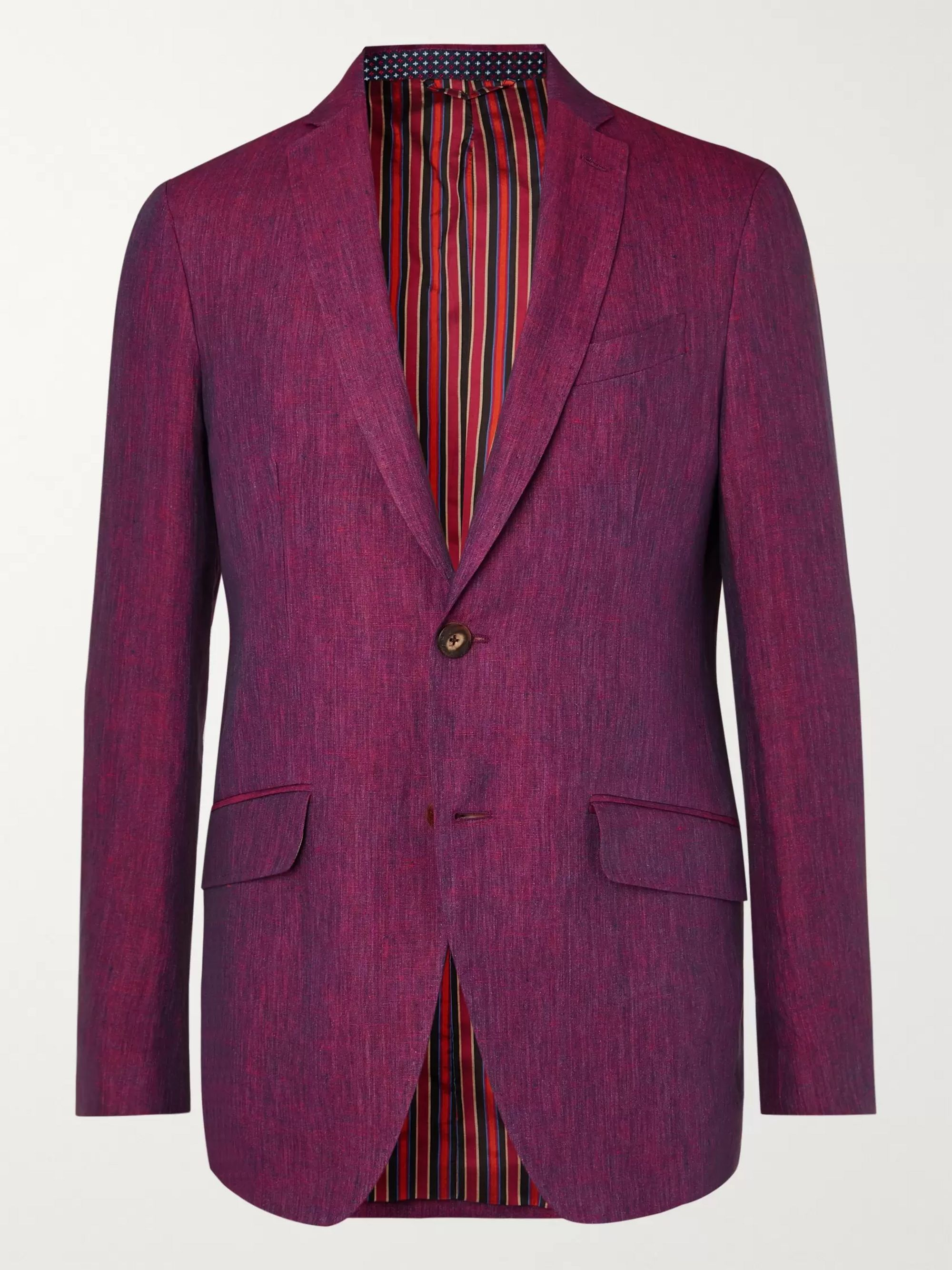 Etro Burgundy Slim-Fit Linen Suit Jacket