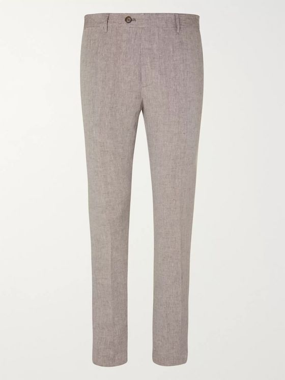 Etro Slim-Fit Linen Trousers