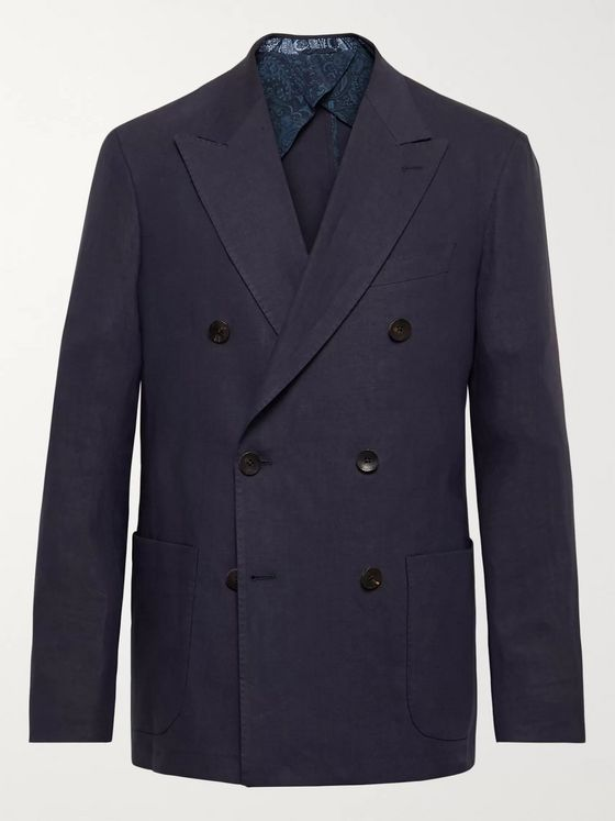 Etro Navy Unstructured Double-Breasted Linen-Blend Blazer