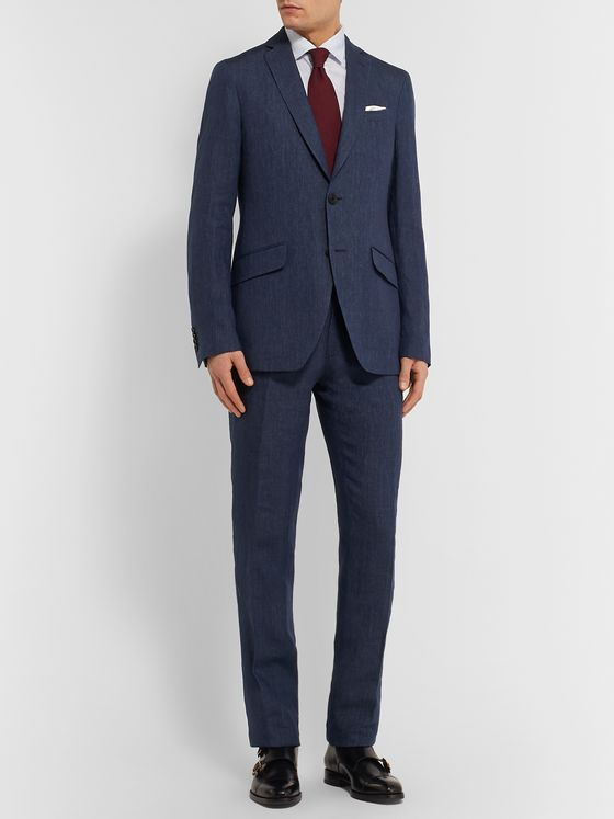 Etro Navy Slim-Fit Unstructured Linen Suit Jacket