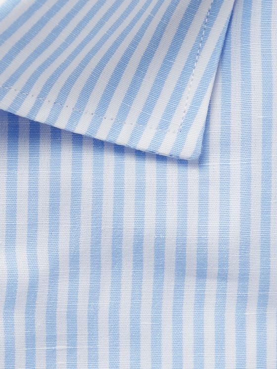 Etro Light-Blue Slim-Fit Striped Slub Cotton and Linen-Blend Shirt