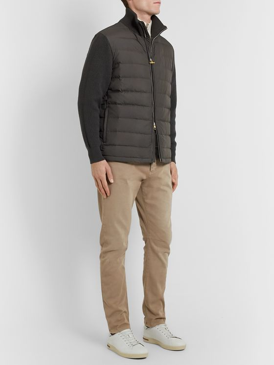 Dunhill Ribbed Merino Wool-Blend and Quilted Shell Down Jacket