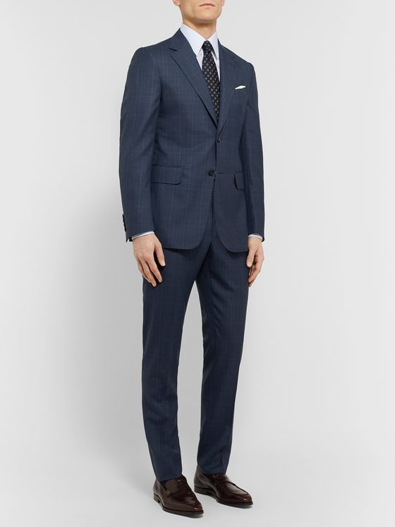 Dunhill Navy Slim-Fit Prince of Wales Checked Wool Suit Trousers