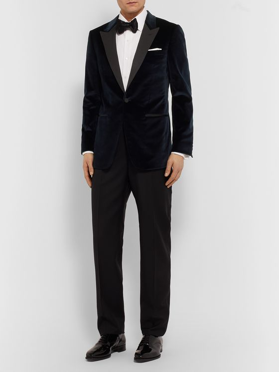 Dunhill Midnight-Blue Slim-Fit Faille-Trimmed Cotton-Blend Velvet Tuxedo Jacket