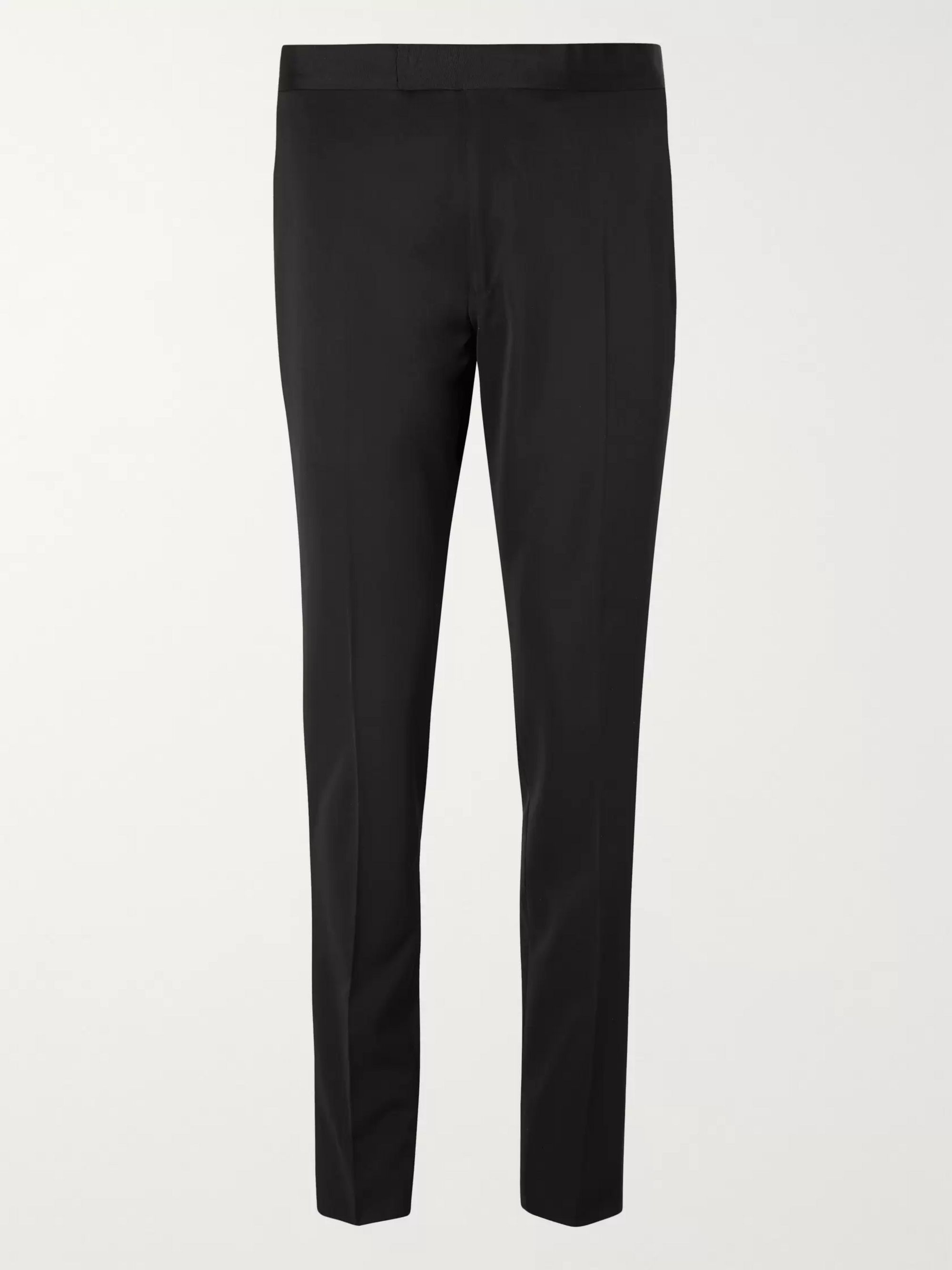 Dunhill Black Grosgrain-Trimmed Wool Suit Trousers