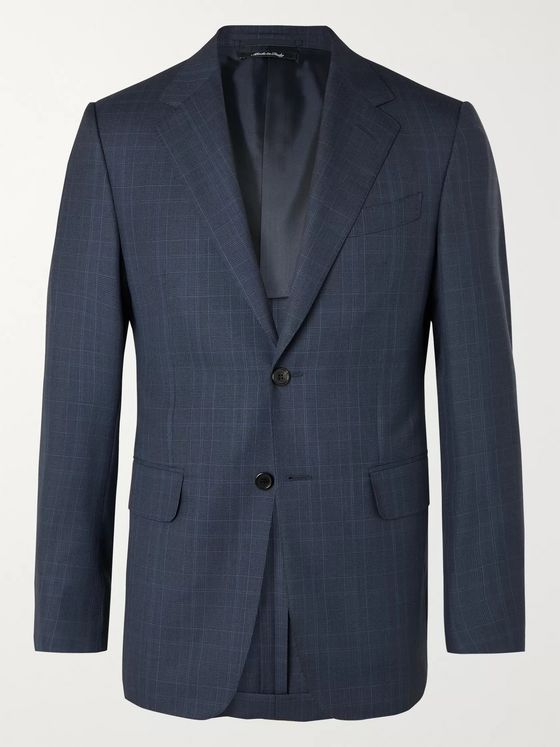 DUNHILL Navy Kensington Unstructured Prince of Wales Checked Wool Suit Jacket