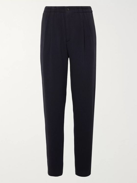 Giorgio Armani Navy Pleated Virgin Wool-Blend Seersucker Suit Trousers