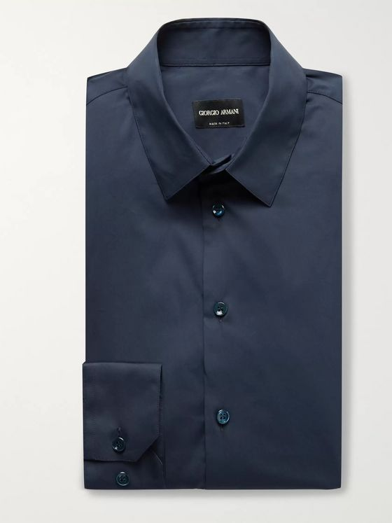 Giorgio Armani Navy Slim-Fit Stretch Cotton-Blend Shirt