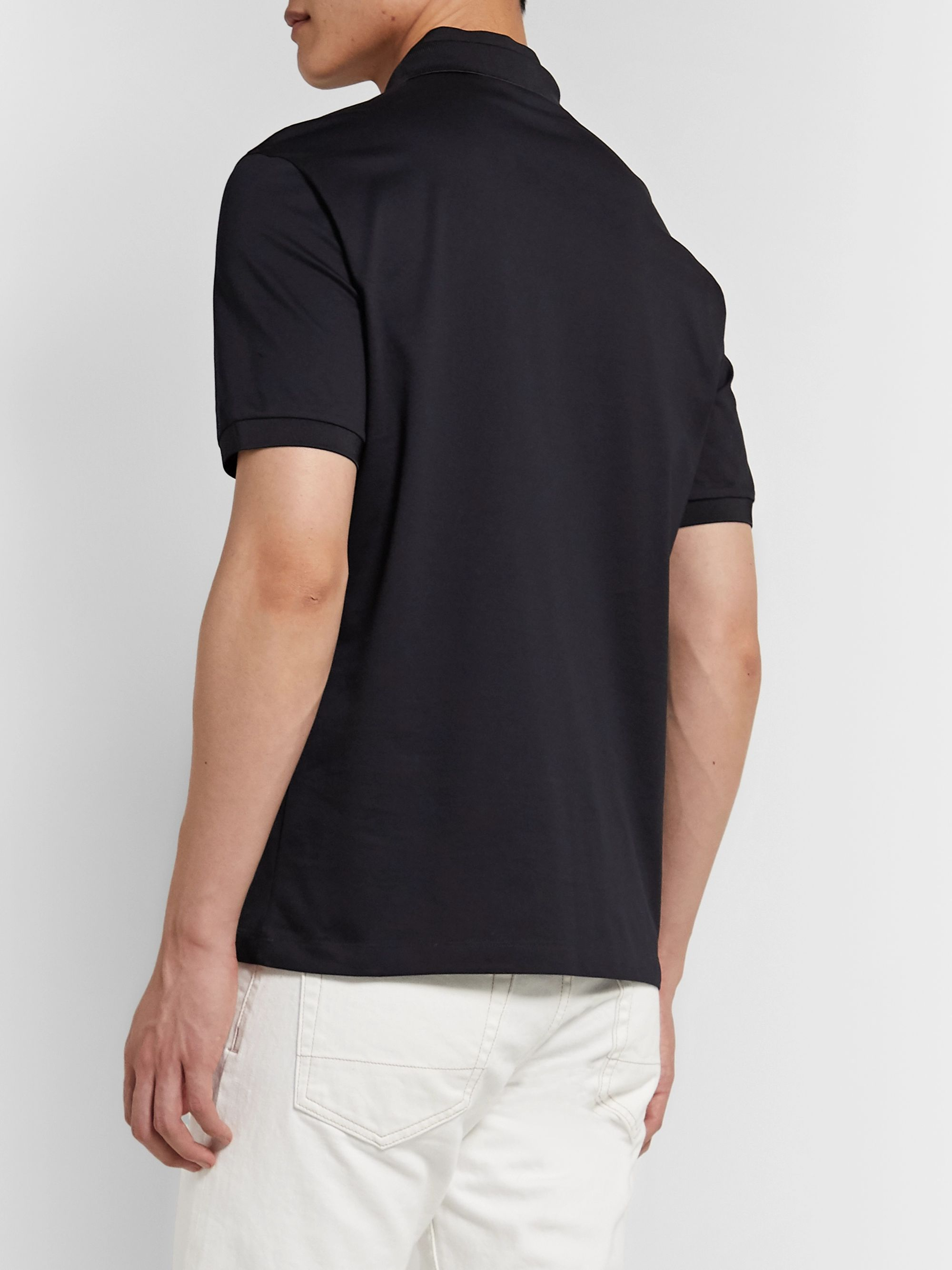 Giorgio Armani Slim-Fit Logo-Embroidered Stretch-Cotton Piqué Polo Shirt
