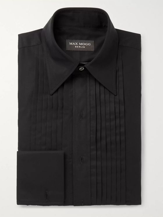Maximilian Mogg Black Pleated Bib-Front Double-Cuff Cotton-Voile Tuxedo Shirt