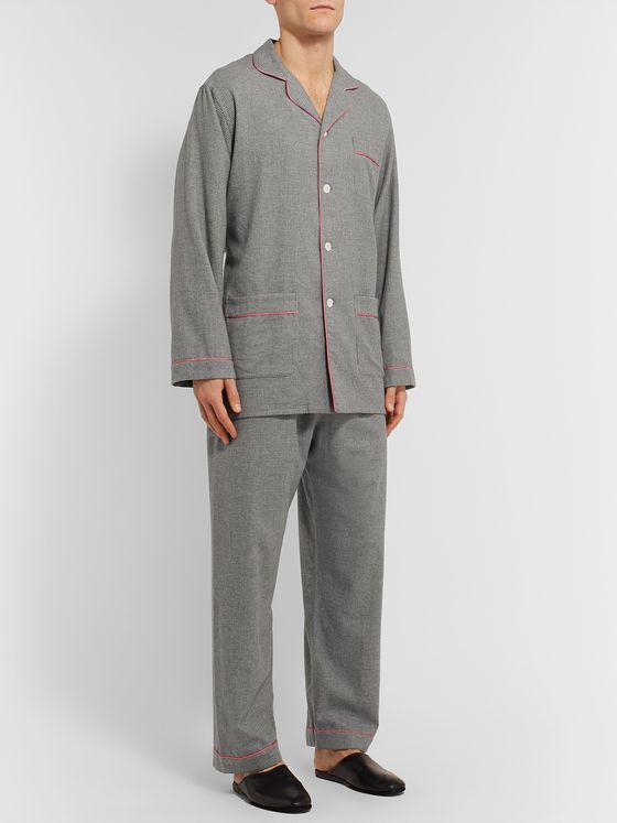 Maximilian Mogg Contrast-Tipped Puppytooth Brushed-Cotton Pyjama Set