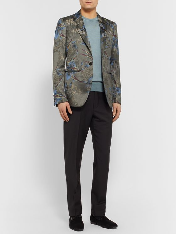 Etro Grey Slim-Fit Jacquard Tuxedo Jacket