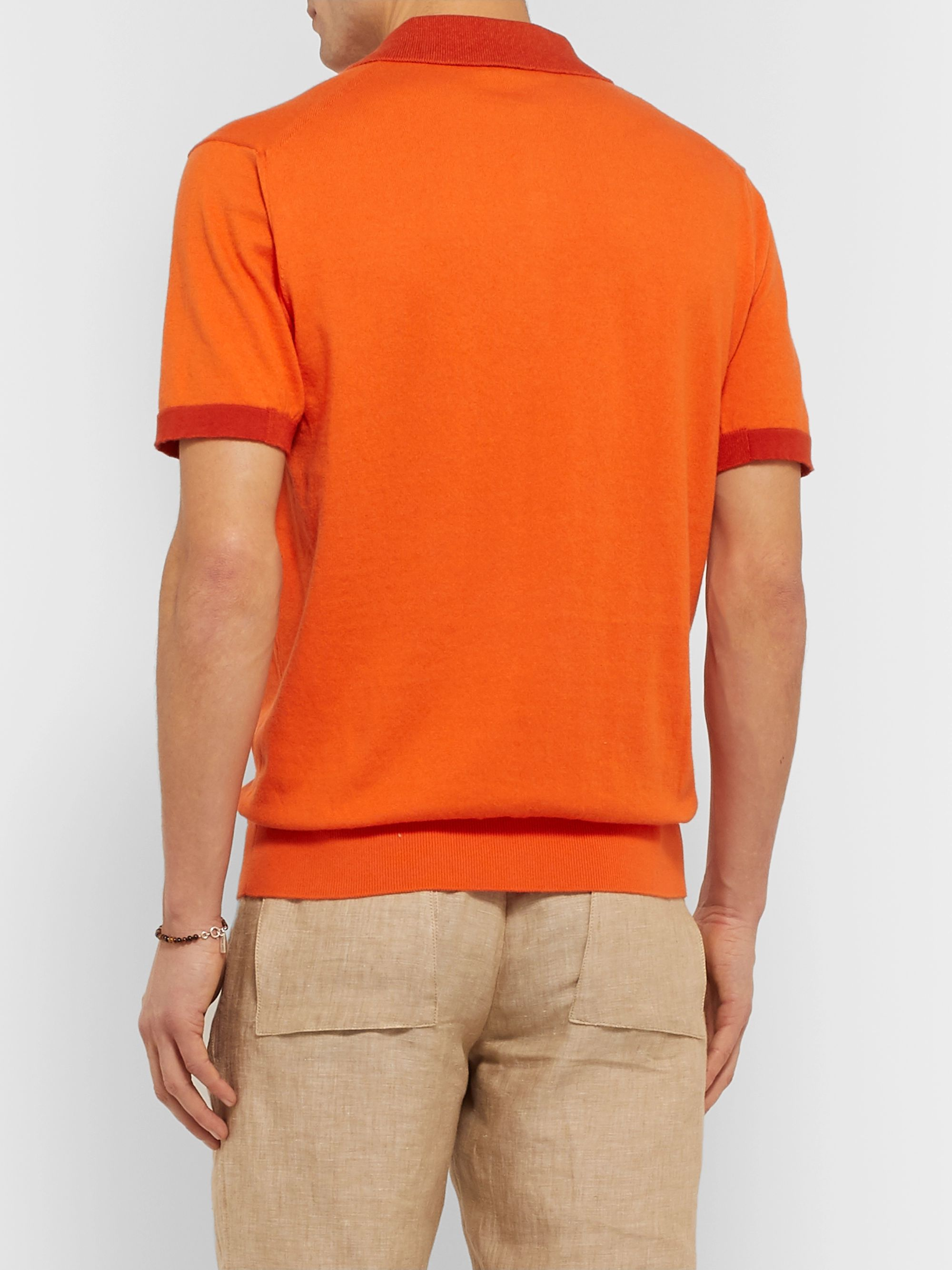 Etro Slim-Fit Contrast-Tipped Cotton Polo Shirt